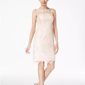 Adrianna Papell  Lace Sheath Dress  Almond
